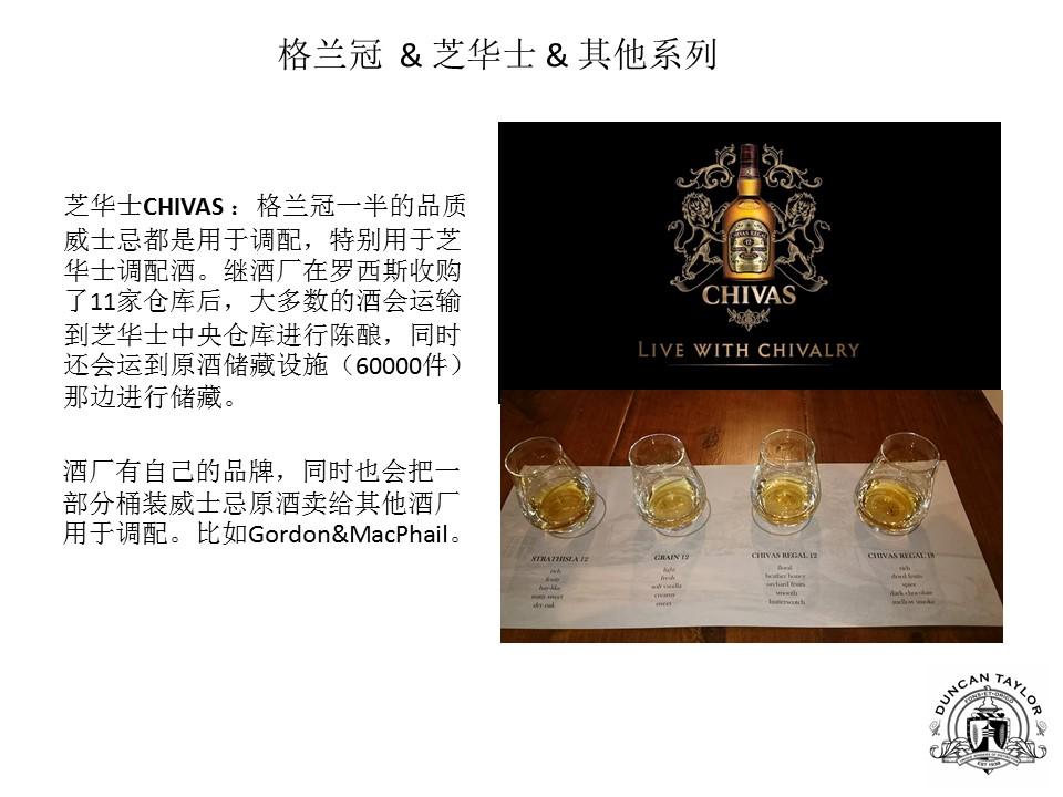 芝华士CHIVAS :格兰冠一半的品质威士忌都是用于调配,特别用于芝华士调配酒。继酒厂在罗西斯收购了11家仓库后,大多数的酒会运输到芝华士中央仓库进行陈酿,同时还会运到原酒储藏设施(60000件)那边进行储藏。  酒厂有自己的品牌,同时也会把一部分桶装威士忌原酒卖给其他酒厂用于调配。比如Gordon&MacPhail。
